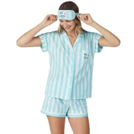 Cuddl Duds Printed Shirt & Shorts Pajama Set in Blue Stripe at Kohls