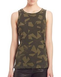Current Elliott Cotton Star-Print Muscle Tee at Saks Fifth Avenue