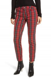 Current Elliott The Stiletto Skinny Jeans  Red Tar Plaid at Nordstrom