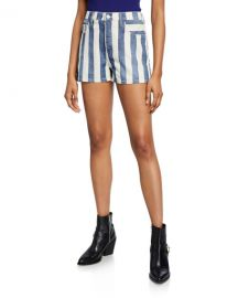 Current Elliott The Westside Striped Shorts at Neiman Marcus