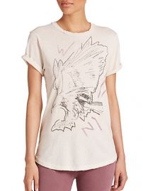 CurrentElliott - The Rolled-Sleeve Printed Linen andamp Cotton Tee at Saks Fifth Avenue