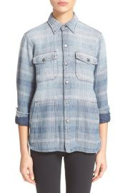 CurrentElliott The Patch Pocket Ombr Stripe Denim Shirt at Nordstrom