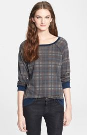 CurrentElliott and39The Lettermanand39 Destroyed Plaid Sweatshirt at Nordstrom