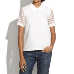 Curved collar top in organza stripe at Madewell
