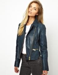 Curved hem leather jacket at Asos