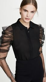 Cushnie Button Down Blouse with Pleated Sleeves at Shopbop