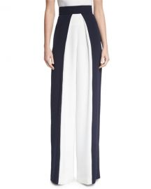 Cushnie Et Ochs Colorblock High-Waist Pants  Navy White at Neiman Marcus