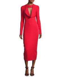 Cushnie Et Ochs Stretch-Crepe Cowl-Neck Midi Dress at Neiman Marcus