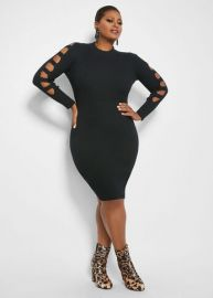 Cutout Sleedve Sweater Dress by Ashley Stewart at Ashley Stewart