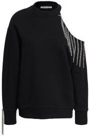 Cutout embellished French cotton-terry sweatshirt at The Outnet