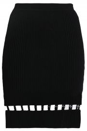 Cutout ribbed-knit mini skirt by T by Alexander Wang at The Outnet