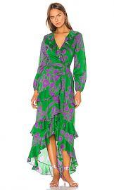 Cynthia Rowley Lanai Ruffle Wrap Dress in Green  amp  Purple from Revolve com at Revolve