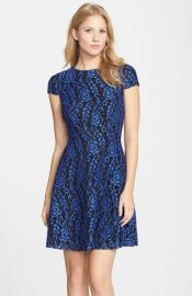 Cynthia Steffe and39Textured Roseand39 Lace Fit andamp Flare Dress at Nordstrom