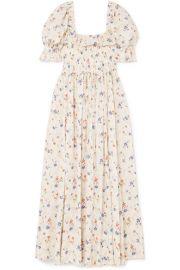 D  EN - Sol shirred floral-print Swiss-dot cotton-voile maxi dress at Net A Porter