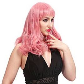 DAOTS Medium Length Wig with Bangs Synthetic Curly Wigs for Women with Cap and Bobby Pins  Pink at Amazon