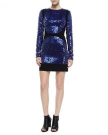 DAVID KOMA EMBELLISHED LONG-SLEEVE MINI DRESS at Bergdorf Goodman
