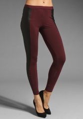 DAVID LERNER Leather Block Legging in WineBlack at Revolve