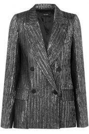 DENEL DOUBLE-BREASTED TEXTURED-LAMÉ BLAZER at The Outnet