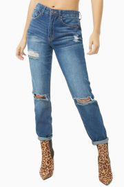 DISTRESSED BOYFRIEND JEANS at Forever 21