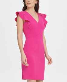 DKNY V-Neck Scuba Crepe Sheath Dress   Reviews - Dresses - Women - Macy s at Macys