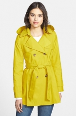 DKNY Abby Double Breasted Hooded Trench Coat at Nordstrom