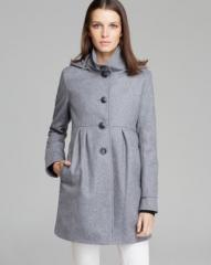 DKNY Coat - Hooded Empire Waist at Bloomingdales