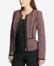 DKNY Knit Piped Peplum Jacket at Macys