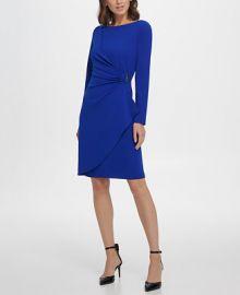 DKNY Long Sleeve Pleated D-Buckle Sheath Dress   Reviews - Dresses - Women - Macy s at Macys