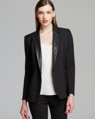 DKNY One Button Blazer with Leather Lapels at Bloomingdales