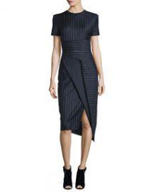 DKNY Short-Sleeve Pinstripe Midi Dress Classic Navy at Neiman Marcus
