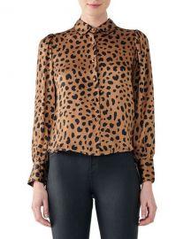 DL1961 Premium Denim Chambers Leopard-Print Top at Neiman Marcus