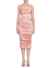 DOLCE  GABBANA - RUCHED SATIN LACE-UP DRESS at Saks Fifth Avenue