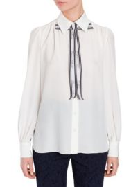 DOLCE  GABBANA - SILK TIE NECK BLOUSE at Saks Fifth Avenue