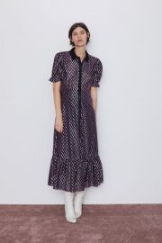 DRESS WITH METALLIC THREAD at Zara