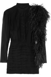 DUBAI FEATHER-TRIMMED SILK-GEORGETTE MINI DRESS at Net A Porter