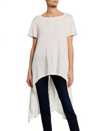 DUBGEE by Whoopi Boat-Neck Short-Sleeve High-Low Slub Tee at Neiman Marcus