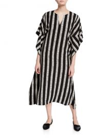 DUBGEE by Whoopi Half Herringbone Striped Long Kimono Dress at Neiman Marcus