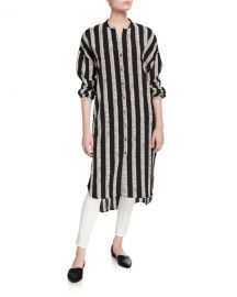 DUBGEE by Whoopi Plus Size Half Herringbone Button-Front Long Tunic at Neiman Marcus