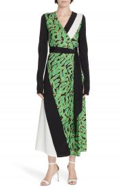DVF Maureen Leaf Print Silk Wrap Dress   Nordstrom at Nordstrom