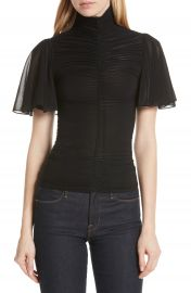DVF Mock Neck Ruched Blouse at Nordstrom