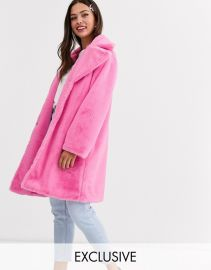 Daisy Street oversized coat in faux fur   ASOS at Asos