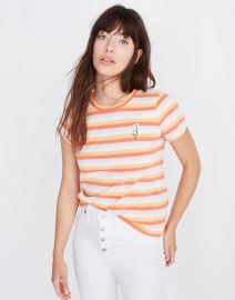 Daisy Embroidered Northside Vintage Tee in Broadway Stripe at Madewell