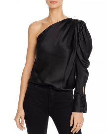 Dakota One-Shoulder Puffed-Sleeve Silk Bodysuit at Bloomingdales