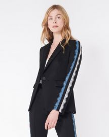Damari Lace Sleeve Dickey Jacket by Veronica Beard at Veronica Beard