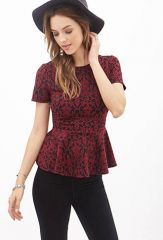 Damask print peplum top at Forever 21