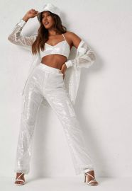 Dani Michelle x white co ord sequin pants by Missguided at Missguided