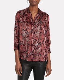 Dani Silk Python Button-Down Shirt at Intermix