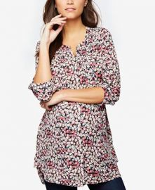 Daniel Rainn Maternity Floral-Print Split-Neck Tunic at Macys