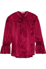 Danika pussy-bow striped satin-jacquard blouse at The Outnet