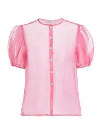 Dannijo - Organza Short Puff-Sleeve Silk Blouse at Saks Fifth Avenue